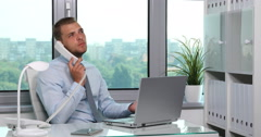 Busy Ceo Businessman Job Talking Landline Phone Partnership Conversation Office Stock Footage
