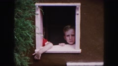 1958: funny and cute kids looking through the window and coming out AMES, IOWA Stock Footage
