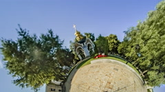 Little Tiny Planet 360. St. Michael's Monastery Stock Footage