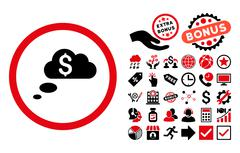 Richness Dream Clouds Flat Vector Icon with Bonus Stock Illustration