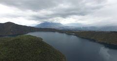 Aerial of The Cuicocha lake - collapsed volcano crater Stock Footage