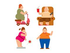 Fat people vector flat silhouette icons Stock Illustration