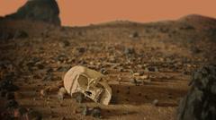 Alien Skull on Mars Stock Footage