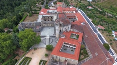 Aerial Shot Old City Tomar With Templar Castle and Convent of Christ Portugal 4k Stock Footage