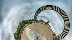 Little Tiny Planet 360 Degree Kiev Sights People's Friendship Arch and Statue Stock Footage