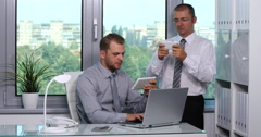 Serious Businessmen Browsing Tablet Mobile Phone Cooperation Team Meeting Room Stock Footage