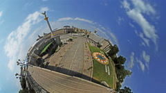 Little Tiny Planet 360 Degree Pedestrian Bridge Over Independence Square Stock Footage