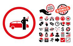 Smoking Taxi Driver Flat Vector Icon with Bonus Stock Illustration