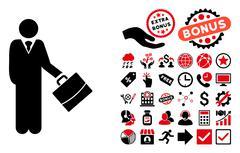 Standing Businessman Flat Vector Icon with Bonus Stock Illustration