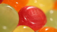 Sweet candies high in sugar, food detrimental to health, overweight problem Stock Footage