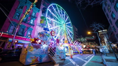 San Gennaro Feast in New York City Little Italy Ferris Wheel Night Timelapse Stock Footage