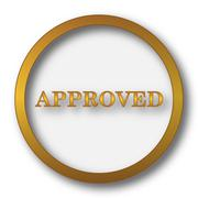 Approved icon. Internet button on white background.. Stock Illustration