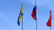 International flags fluttering in wind, close-up Stock Footage