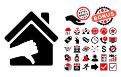 Terrible House Flat Vector Icon with Bonus Stock Illustration