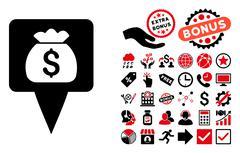 Treasure Map Pointer Flat Vector Icon with Bonus Stock Illustration