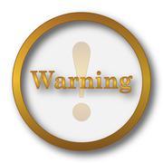 Warning icon. Internet button on white background.. Stock Illustration