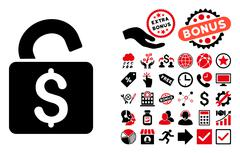 Unlock Banking Lock Flat Vector Icon with Bonus Stock Illustration
