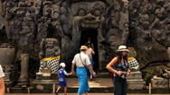 Bali, Indonesia: People sightseeing ancient temple in Ubud,Bali Stock Footage