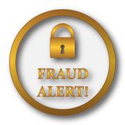Fraud alert icon. Internet button on white background.. Stock Illustration