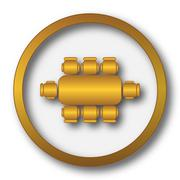 Business meeting table icon. Internet button on white background.. Stock Illustration