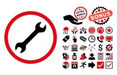 Wrench Flat Vector Icon with Bonus Stock Illustration
