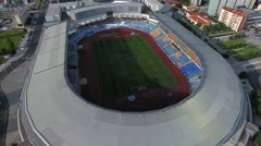 Soccer Municipal Stadium in Coimbra, Portugal aerial shot 4k Stock Footage