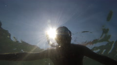 Man Silhouette Swim Snorkeling Mask Underwater Diver Lifestyle Bright Sun Rays Stock Footage