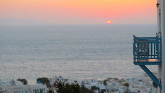 Beautiful colorful sunset of amazing greek town Mykonos Stock Footage