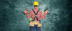 Electrician with drill. Stock Photos