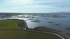Sado estuary river alentejo Portugal aerial shot 4k Stock Footage
