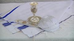 Bar Mitzhvah jewish religious symbol Prayer Shawl - Tallit, Jewish religious Stock Footage