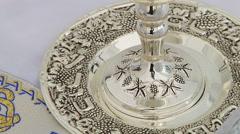 Bar Mitzhvah jewish religious symbol Prayer Shawl - Tallit, Jewish symbol Stock Footage
