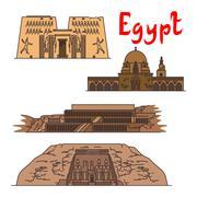 Egypt historic landmarks and sightseeings Stock Illustration