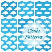 Clouds vector seamless patterns Stock Illustration
