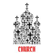 Church icon. Religion christianity cross symbols Stock Illustration
