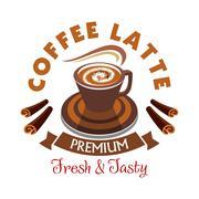 Coffee Latte label. Premium fresh and tasty Stock Illustration