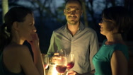 FYoung happy friends drinking wine, and talk in the bar in the evening, 4K Stock Footage