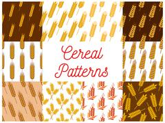 Cereal wheat and rye ears patterns Stock Illustration