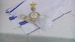 Yarmulke, a Jewish head covering Bar Mitzhvah jewish religious symbol Stock Footage