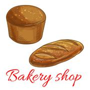 Bread sketch icons for bakery shop Piirros