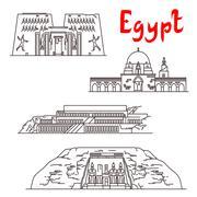 Historic landmarks and sightseeings of Egypt Stock Illustration
