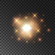 Glittering golden star light sparks Stock Illustration