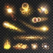 Golden sparkling light trails and flashes Stock Illustration