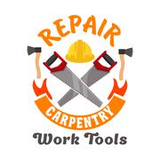 Repair and carpentry work tools icon Stock Illustration