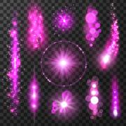 Purple sparkling light trails and flashes Stock Illustration