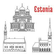 Historic landmarks and sightseeings of Estonia Stock Illustration