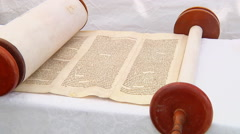 The hebrew Torah displayed here a synagogue 5 SEPTEMBER 2016 Stock Footage