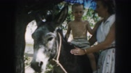 1958: a kid is seen sitting on a donkey AMES, IOWA Stock Footage