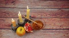 Rosh Hashanah celebration. Jewish New Year Holiday Stock Footage