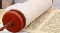 The hebrew Torah, displayed here on a synagogue 5 SEPTEMBER 2016 Stock Footage